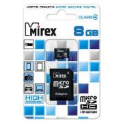 8GB Карта памяти MicroSDHC MIREX + SD адаптер class 4, (13613-ADTMSD08)