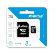 8GB Карта памяти MicroSDHC Smart Buy + SD адаптер class 10