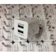 Адаптер сетевой СЗУ-2USB 2A/1A кубик белый