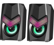 Акустическая 2.0 сист Defender Solar 1, черный, 6Вт, подсветка, питание от USB, 65401