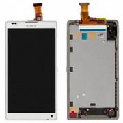 Дисплей - б/у - Sony Xperia ZL C6503 + тачскрин + рамка белый оригинал
