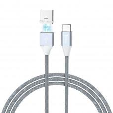Кабель Hoco U40B Type-C - USB магнит метал серый