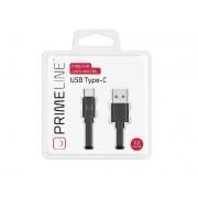 Кабель Prime Line Type-C - USB плоский, черный, 1.2м, 7216