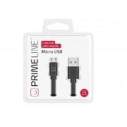 Кабель Prime Line microUSB - USB плоский, черный, 1.2м, 7215