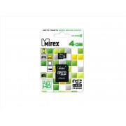 Карта памяти MicroSDHC MIREX 4GB + SD class 10, 13613-AD10SD04