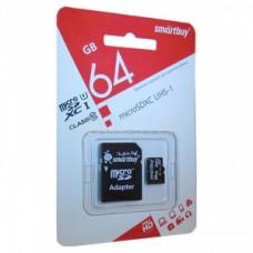 Карта памяти MicroSDXC SmartBuy 64GB + SD адаптер class 10 UHS-I, SB64GBSDCL10-01