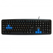 Клавиатура Dialog KM-025U Multimedia USB, черно-синяя