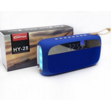 Колонка HY28 синий (Bluetooth/Hands Free/USB/FM/MicroSD/LED/Alarm clock/Clock)