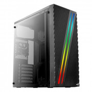 Корпус Aerocool Streak, Midtower, Black, USB 3.0, acrylic window, RGB, 0,5 mm, 1*80 rera fan, без БП