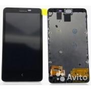 Модуль (экран + сенсорное стекло в сборе)-б/у- Nokia X Dual Sim/RM-980 + динамик разговорный, черный