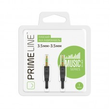 Prime Line AUX аудиокабель 3.5мм - 3.5мм, плоский, 1м, черный, 7001