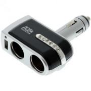 Разветвитель автоприкуривателя Agestar AS-0201 (2 прикуривателя+1 USB)