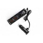 Разветвитель прикуривателя 3 выхода USB (0096)