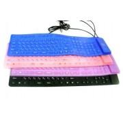 Резиновая клавиатура в тубусе USB синяя