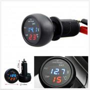 VST-706 Термометр, вольтметр, USB зарядка 2.1 ампер в прикуриватель 12/24V