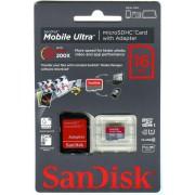 micro SDHC карта памяти SanDisk 16GB Class10 Ultra с адаптером SD (SDSDQU-016G-U46A)