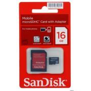micro SDHC карта памяти SanDisk 16GB Class4 (SD адаптер)