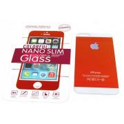 Защитное стекло iPhone 5 colour малиновый-белый. Комплект из двух стекол (перед и зад)